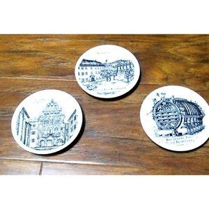 Set of 3 Porzella German Mini Plates